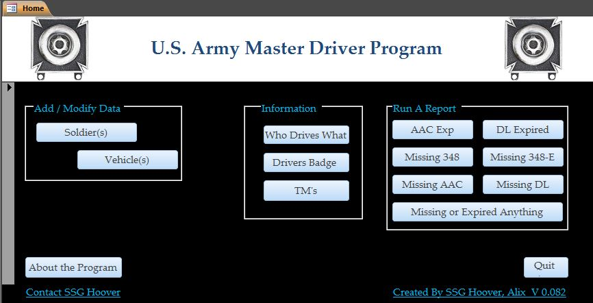 Main Page For The Master Driver Program